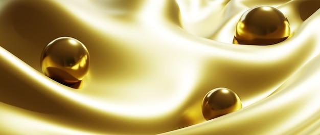 3d визуализация золотых шаров и шелкового абстрактного искусства моды фона.