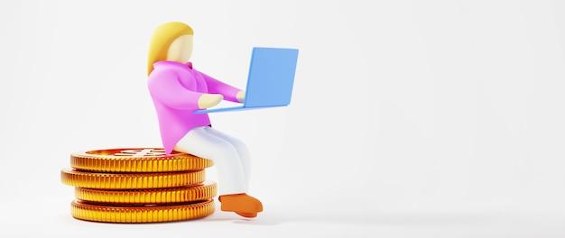 황금 동전과 여자의 3d 렌더링입니다. 온라인 쇼핑 및 웹 비즈니스 개념에 전자 상거래. 스마트 폰으로 안전한 온라인 결제 거래.