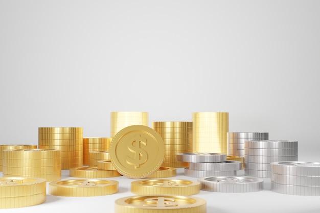 3d-рендеринг золотых монет и серебряных монет
