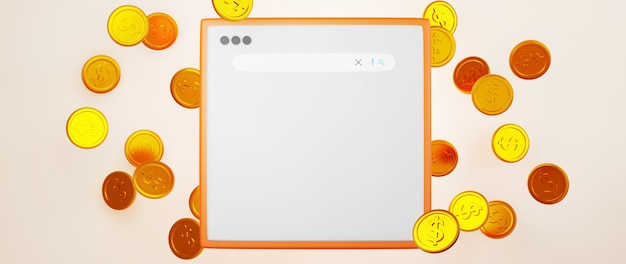 金貨とウェブサイトの3dレンダリング。 webショッピングの概念に関するオンラインビジネスとeコマース。スマートフォンで安全なオンライン決済取引。