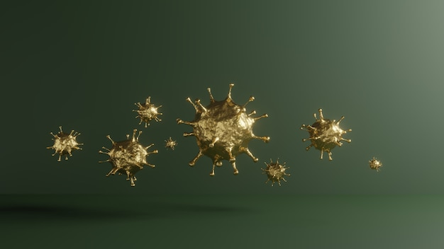 황금 covid-19의 3d 렌더링입니다. 의료 건강 백신 연구를위한 유행성 전염병 바이러스의 개념. 녹색 코로나 바이러스의 현미경 확대, 2019-ncov