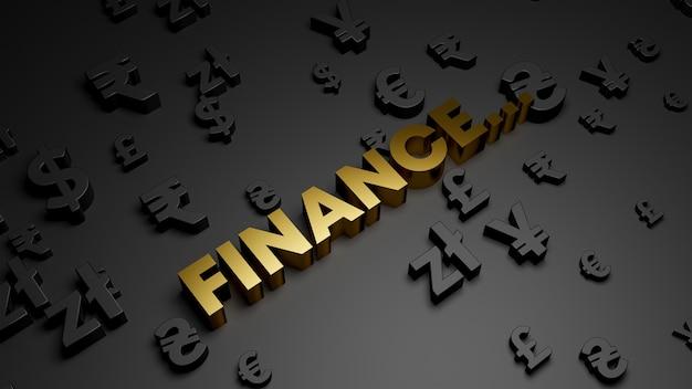 3d визуализация золотого текста финансов с символами валюты