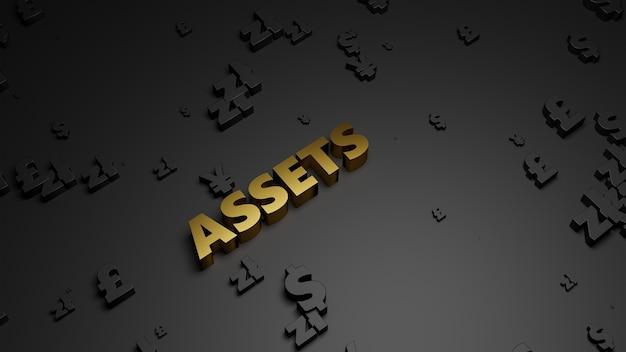 3d визуализация золотого металлического текста актива на темном фоне валюты.