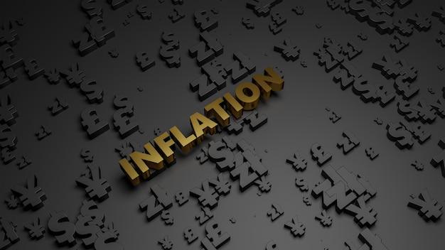 3d визуализация золотого металлического текста инфляции на фоне темной валюты.