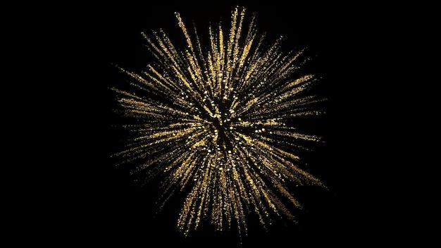 황금 입자의 3d 렌더링입니다. 럭셔리 배경입니다. 축제 폭발.