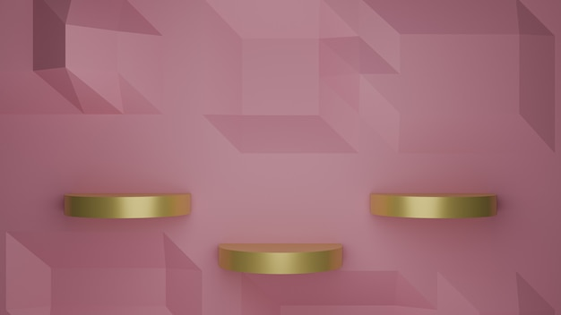 3d визуализация золотой витрины подиума на розовом пастельном фоне абстрактного изображения
