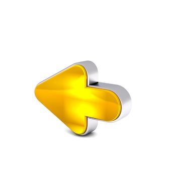 白い背景に分離された黄金黄色の後方矢印の3 dレンダリング