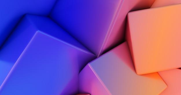 그라데이션 혼돈 큐브 벽 배경의 3d 렌더링입니다.
