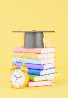 교육 개념, 책 더미, 계단, 모형 디자인을 위한 노란색 알람 시계가 있는 졸업 모자의 3d 렌더링