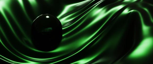 3d визуализация зеленого шара и шелкового абстрактного искусства фона моды.