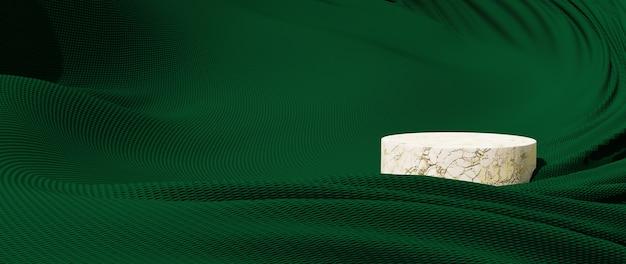 녹색 천과 대리석 연단의 3d 렌더링입니다. 추상 미술 패션 배경입니다. 장면 무대 플랫폼 쇼케이스, 제품, 프레젠테이션, 연단의 화장품.