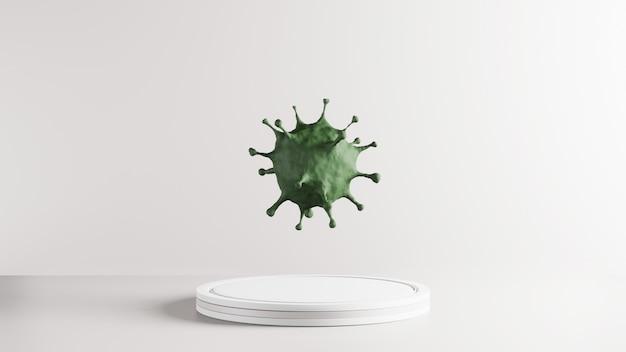 녹색 covid-19의 3d 렌더링입니다. 의료 건강 백신 연구를위한 유행성 전염병 바이러스의 개념. 녹색 코로나 바이러스의 현미경 확대, 2019-ncov