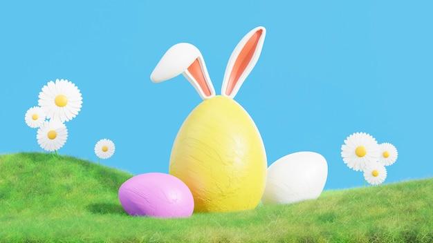 幸せなイースターフェスティバルのための草の上のウサギの耳と緑の卵の3dレンダリング
