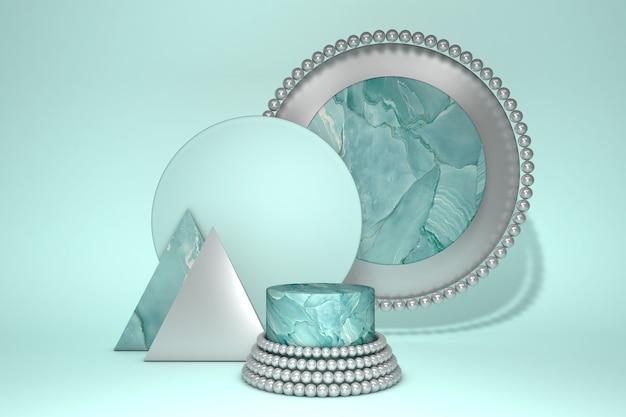 제품 프리젠 테이션을위한 녹색 대리석 기하학적 받침대의 3d 렌더링