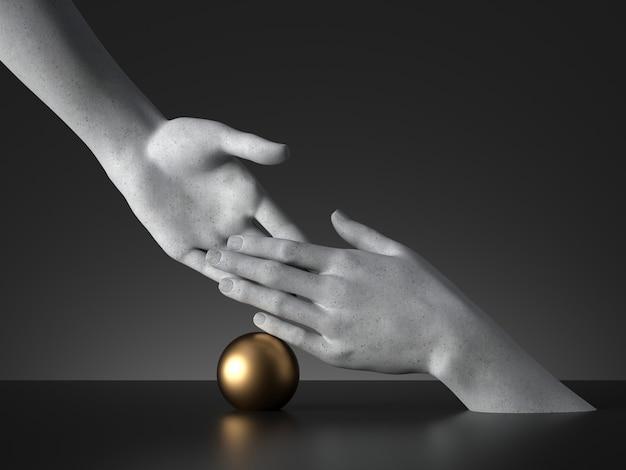 핸드 셰이크 제스처와 황금 공의 3d 렌더링. 마네킹 손 상호 작용.