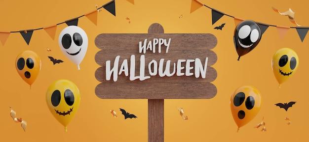 3d визуализация счастливого хэллоуина на деревянной доске с концепцией счастливого хэллоуина