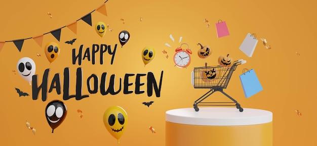 3d-рендеринг счастливой распродажи на хэллоуин, скопируйте пространство для отображения вашего продукта
