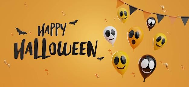 3d визуализация счастливого хэллоуина с воздушными шарами, летучей мышью, флагом garland.confetti на оранжевом фоне.