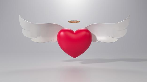 날개를 가진 하트의 3d 렌더링