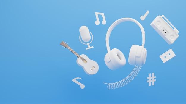 音楽のコンセプトに囲まれたヘッドフォンの3dレンダリング