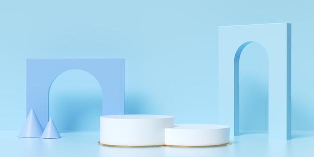 제품 배치를위한 홀로그램 기하학적 단계의 3d 렌더링