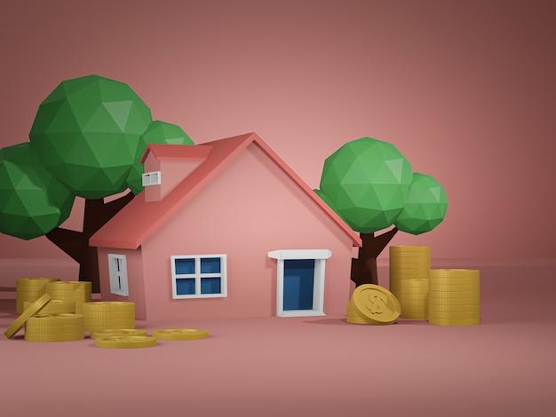 3d визуализация дома и золотая монета и деревья на розовом полу