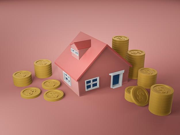 3d визуализация дома и золотая монета на розовом полу
