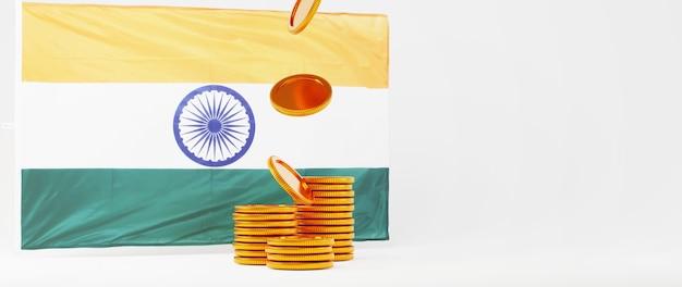 인도 국기와 황금 동전의 3d 렌더링입니다. 온라인 쇼핑 및 웹 비즈니스 개념에 전자 상거래. 스마트 폰으로 안전한 온라인 결제 거래.