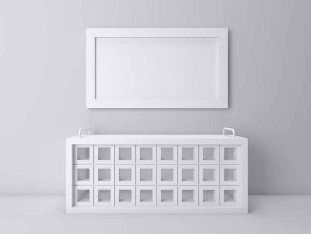 3d визуализация интерьера в перспективе гостиной на белом экране