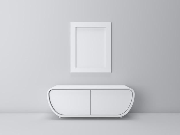 3d визуализация интерьера в минималистичной гостиной и макет