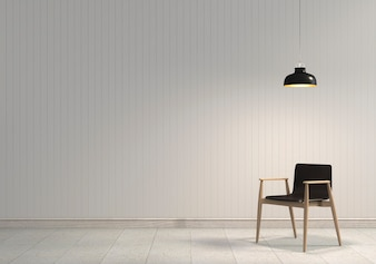 3D render of interior with chair and lamp