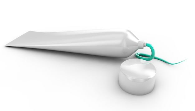 3d визуализация изолированной тюбика универсальной зубной пасты