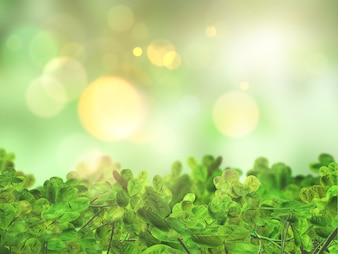 3D render of leaves on a bokeh lights defocussed background