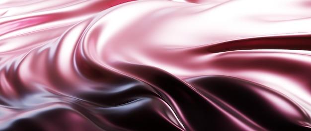 淡いピンクのシルクの3dレンダリング。虹色のホログラフィックホイル。抽象芸術のファッションの背景。