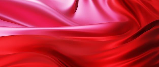 光と赤のシルクの3dレンダリング。虹色のホログラフィックホイル。抽象芸術のファッションの背景。