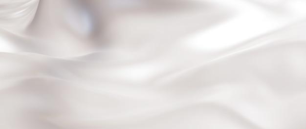 淡い白のシルクの3dレンダリング。虹色のホログラフィックホイル。抽象芸術のファッションの背景。