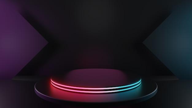 어두운 배경에 격리된 밝은 원 받침대 단계의 3d 렌더링, 추상적인 최소 개념, 빈 공간, 단순하고 깨끗한 디자인