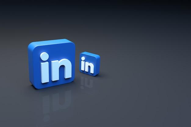 3d-рендеринг логотипа linkedin