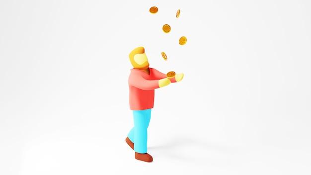 남자와 황금 동전의 3d 렌더링입니다. 온라인 쇼핑 및 웹 비즈니스 개념에 전자 상거래. 스마트 폰으로 안전한 온라인 결제 거래.