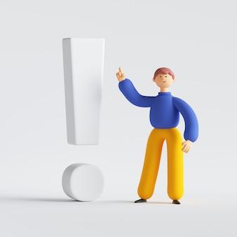 大きな感嘆符の近くに立っている男の漫画のキャラクターの3dレンダリング。会議の講演者、コーチがアドバイスを提供します。