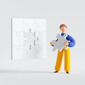 퍼즐 조각, 미소, 서, 문제를 해결하려고 만화 캐릭터를 들고 남자의 3d 렌더링.