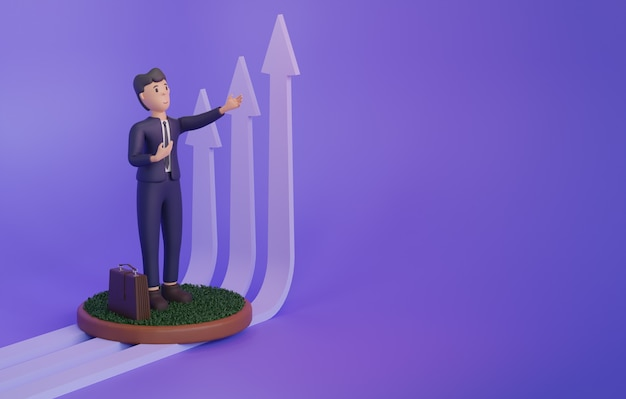 コピースペースと紫色の背景に成長している矢印の横にある男の3dレンダリング