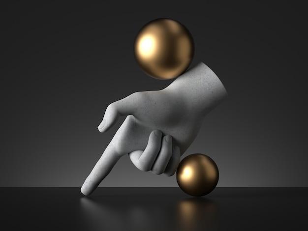 マネキンの手と金色のボールの3dレンダリング、指を下に向けます。