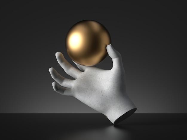 金色のボールを持っているマネキンの手の3dレンダリング。