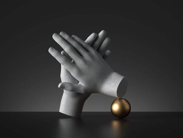 3d визуализация манекен руки аплодисменты жест и золотой шар, изолированные на черном фоне.