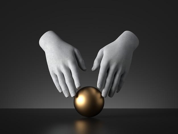 황금 공 마술 트릭을 만지고 마네킹 손의 3d 렌더링.