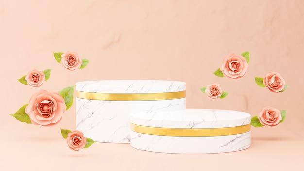 製品展示用の花と大理石の表彰台の3dレンダリング