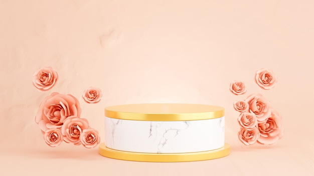 製品展示用のピンクのバラと大理石の表彰台の3dレンダリング