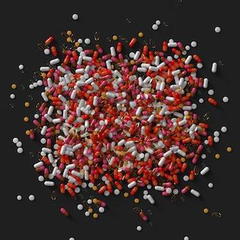 薬の丸薬の3dレンダリング。抽象的な医療イラスト。