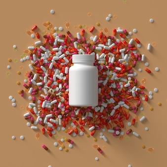 薬の丸薬とキャップ付きボトルの3dレンダリング。抽象的な医療イラスト。